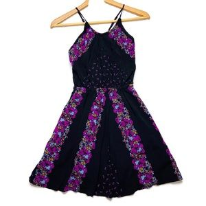 Free People Black Purple Dress S Floral Cross Back